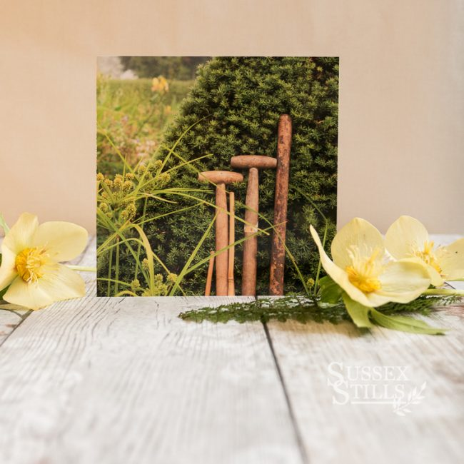 Tools At Rest, greeting card of Great Dixter, by Nicky Flint