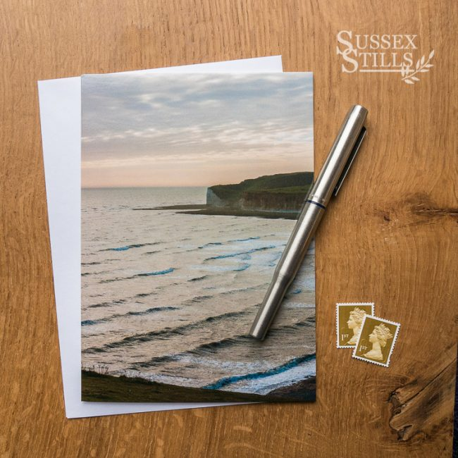 Day's End At The Cuckmere Haven, greeting card by Nicky Flint